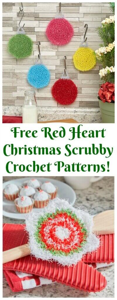 Two festive Christmas scrubby patterns from Red Heart! #petalstopicots