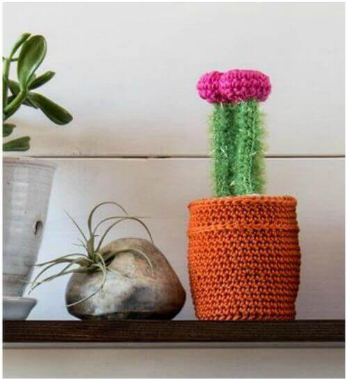 ThisCactus Crochet Kitis great for beginners! It\'s fun to work up and makes a great addition to your decor ... and best of all there is no watering needed!