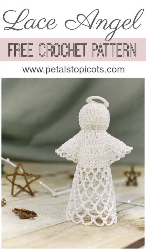 This sweet lace angel crochet pattern is perfect to work up for the holidays or any time you feel that heavenly inspiration. Don\'t be intimidated by the delicate design ... she\'s easier to work up than she looks! #petalstopicots
