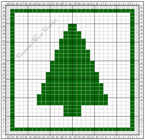 Christmas Tree Dishcloth - Free Tunisian Crochet Pattern