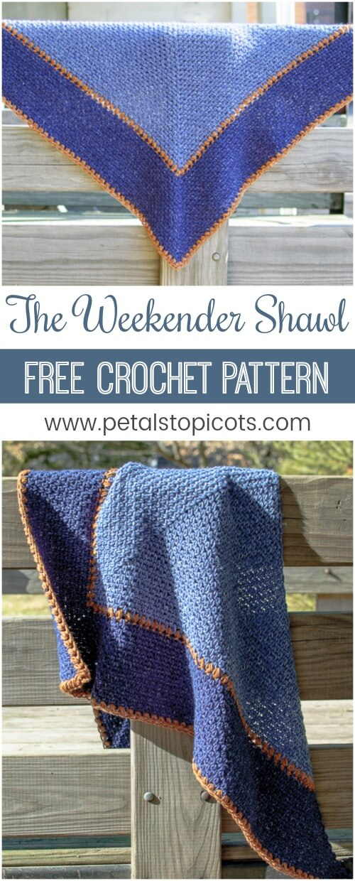 Don't let the name fool you ... this Weekender Shawl Crochet Pattern isn't just for weekends! Throw it on any time for a relaxed and stylish vibe. Best of all, the stitch pattern is fully reversible so no matter how you wrap or drape it it's always showing it's best side! #petalstopicots