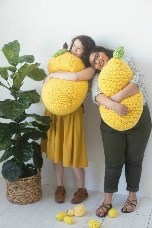 It\'s stress awareness month and once again the Craft Yarn Council is raising awareness with their annual #StitchAwayStress campaign to encourage knitters and crocheters to pick up their hooks and needles and stitch away their stress. And to give us some incentive, designer Twinkie Chan has created these fun and free lemon pillow patterns to knit or crochet.