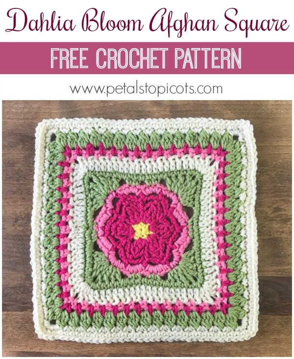 I\'m loving this Dahlia Bloom Afghan Square Pattern!! I can already imagine all the lovely color combinations you will make! #petalstopicots