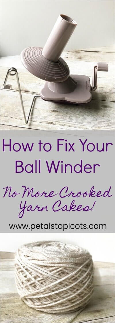 Do your yarn cakes wind crooked? If so, your ball winder might need adjusting. Find out how to fix your yarn ball winder. #petalstopicots