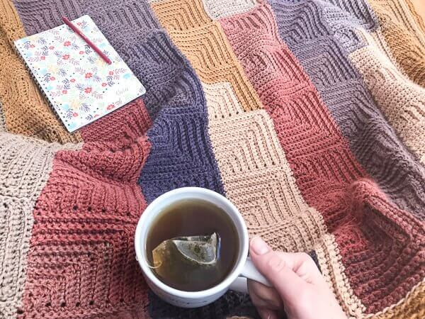 Continuous Mitered Square Crochet Afghan Pattern | www.petalstopicots.com