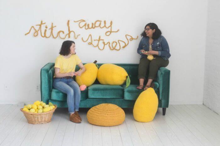 Free Lemon Pillow Patterns to Crochet or Knit - Stitch Away Stress