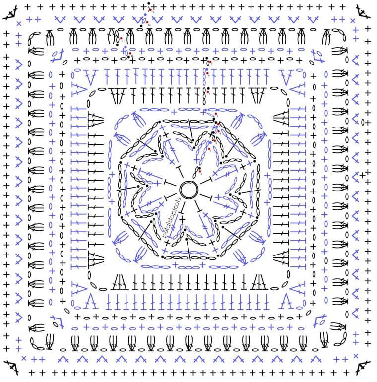 Daisy Afghan Square Crochet Stitch Diagram | www.petalstopicots.com