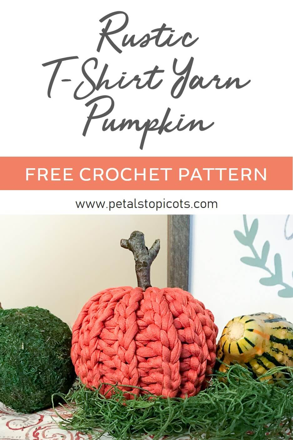 This rustic crochet pumpkin is made with T-shirt yarn and is super quick to work up! The pattern is great for all crochet experience levels as well since it\'s worked flat, with no increasing or decreasing, and then seamed up and stuffed. The slip stitch pattern also adds a great knit-like accent. This little darling is sure to charm my decor all through the Autumn season! #petalstopicots