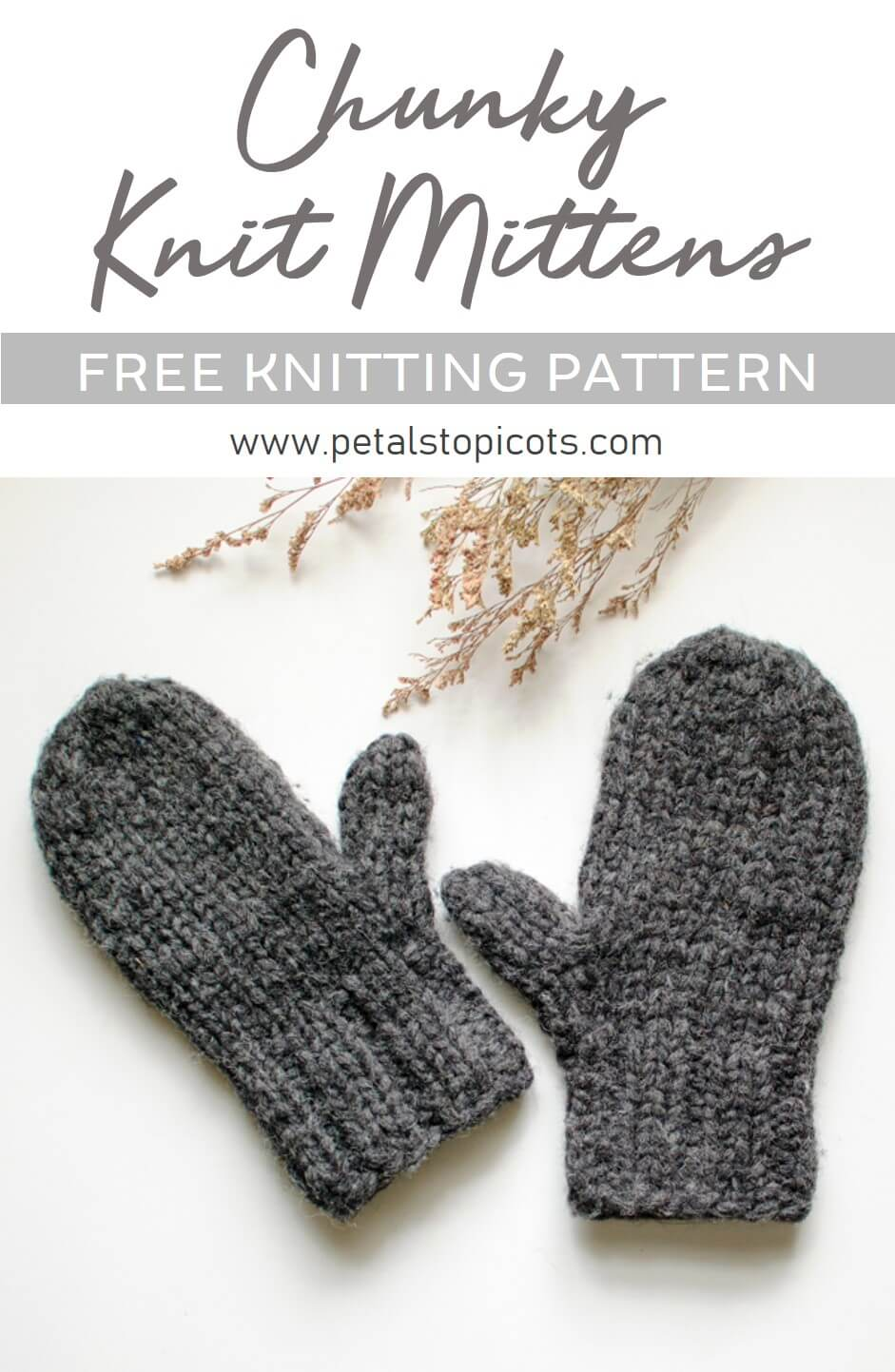 This knit mittens pattern works up super quickly and is a great basic pattern for all experience levels. They are so warm & toasty too!