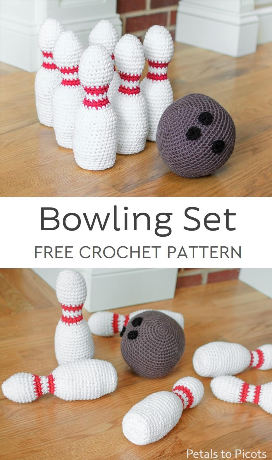 Little ones will love this adorable crochet bowling set! It\'s perfect for little hands and great for developing hand-eye coordination and spacial awareness.