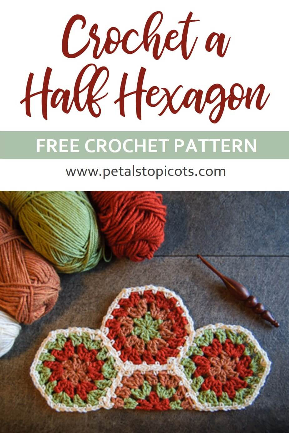 Fill in the spaces along the edges on your crochet hexagon project with this half hexagon pattern ... perfect for a neat and tidy straight edge!