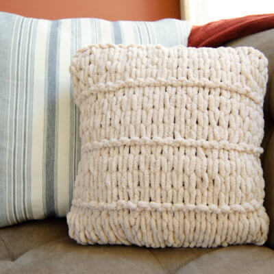 Loop Yarn Pillow No Knit Project
