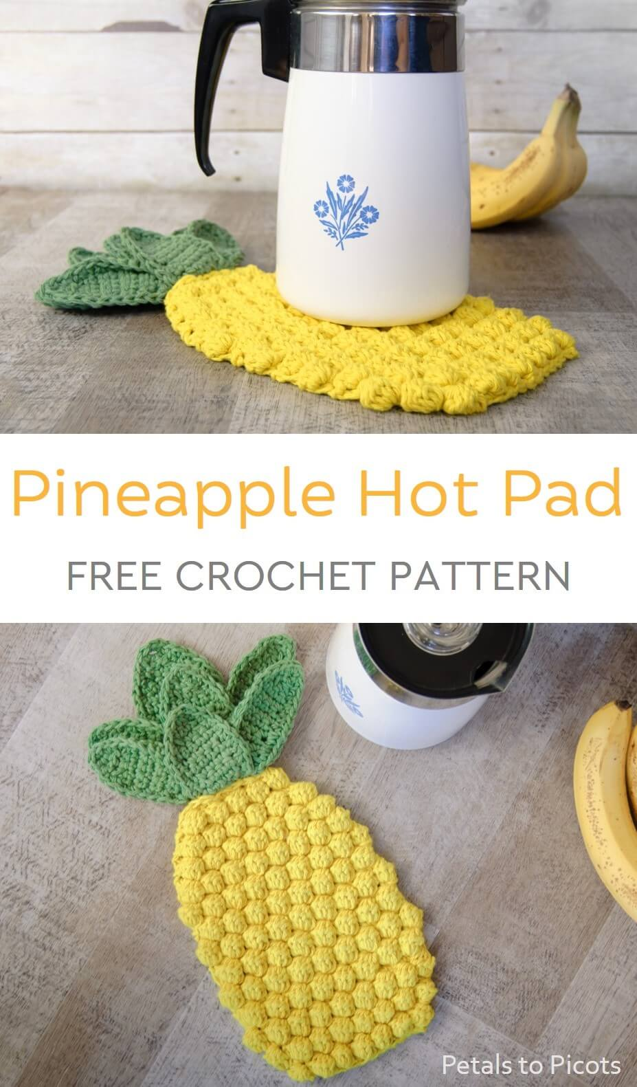 This pineapple crochet hot pad makes for an easy and portable project as well as a bright and cheery addition to your dining table or to gift to a friend!