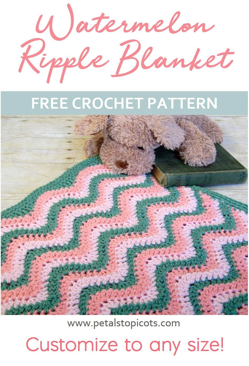 Ripple Crochet Pattern: Watermelon Baby Blanket