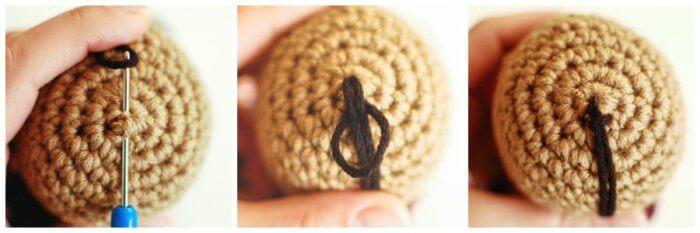 Add yarn hair to crochet doll
