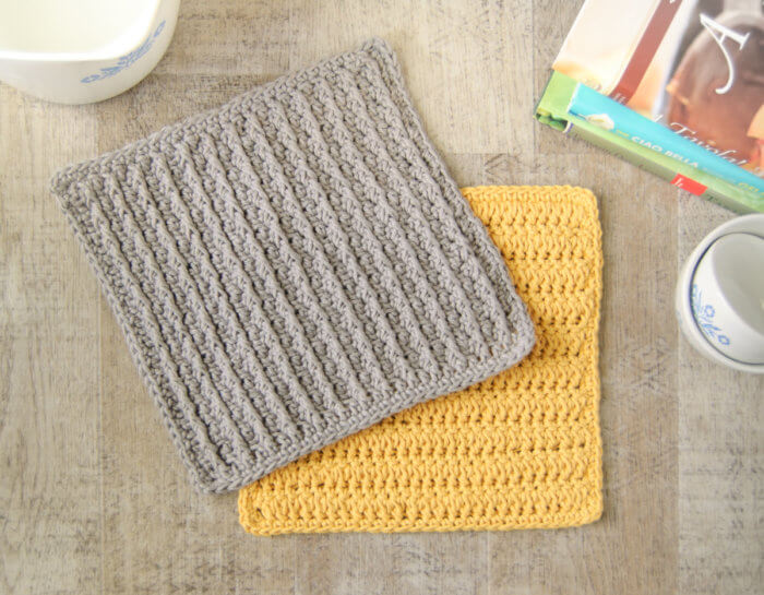 The Cabled Columns dishcloth features deeply textured accent columns ... an easy, repetitive crochet pattern with a stunning ribbed effect!