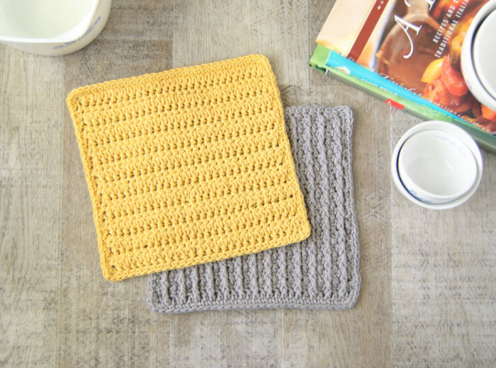 Crochet dishcloths provide a wonderful opportunity to learn new stitches, like this forked cluster crochet stitch.
