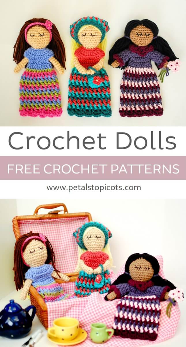 These crochet dolls make for a sweet little friend to stitch up for yourself or someone special ... Free crochet pattern!
