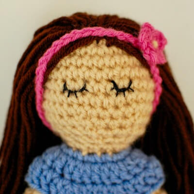 Embroidering crochet doll eyes