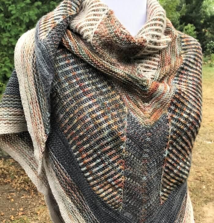 Knit brioche shawl - Emi's Shawl designed by Lesley Anne Robinson.
