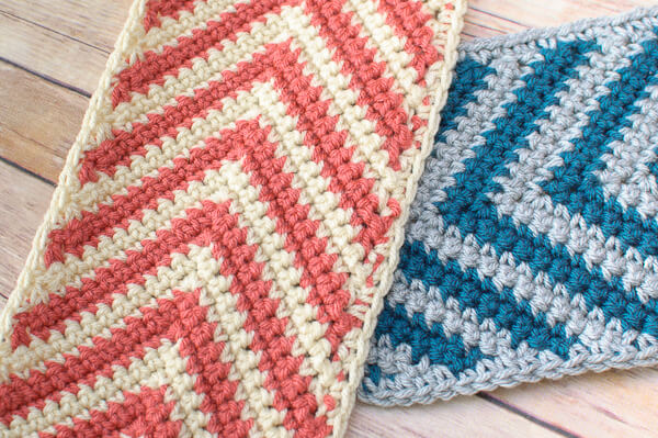 The two color crochet chevron design allows for so many awesome color combos!