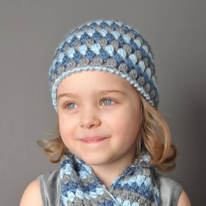 Toddler size Mod Crochet Cluster Stitch Hat Pattern