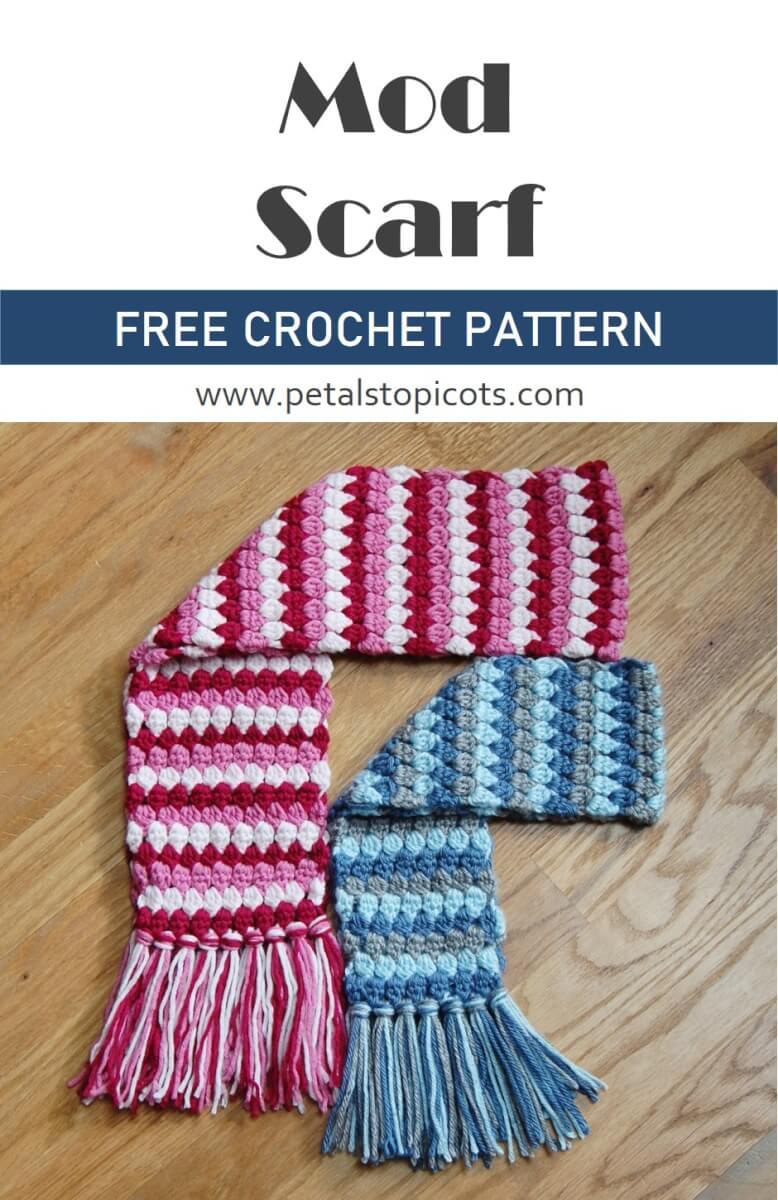 Crochet Scarf Pattern - Mod Cluster Stitch Scarf