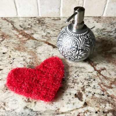 Sweetheart Scrubby Single Crochet Heart Pattern