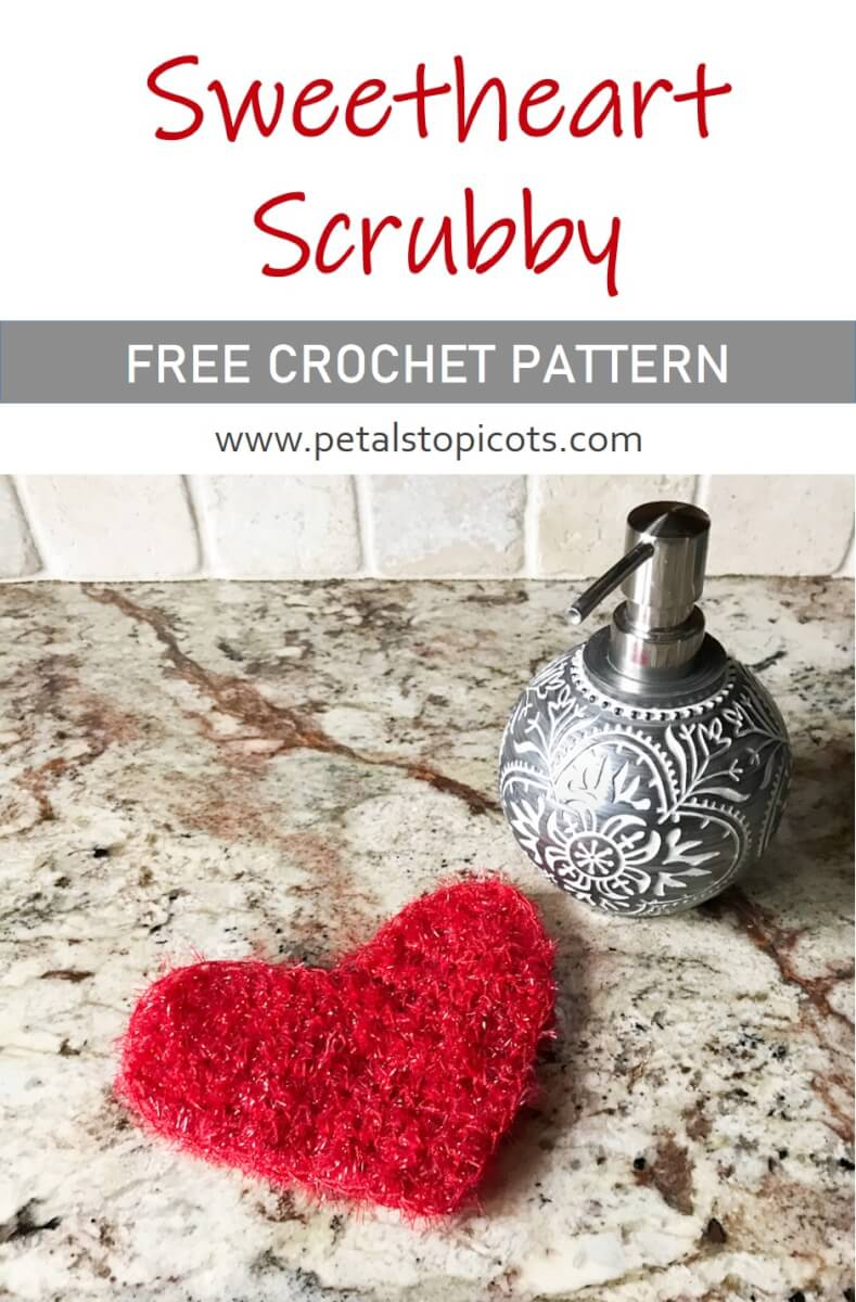 This Sweetheart Scrubby adds a lovely accent to your kitchen. Work it up for your Valentine decor or use it all year long.