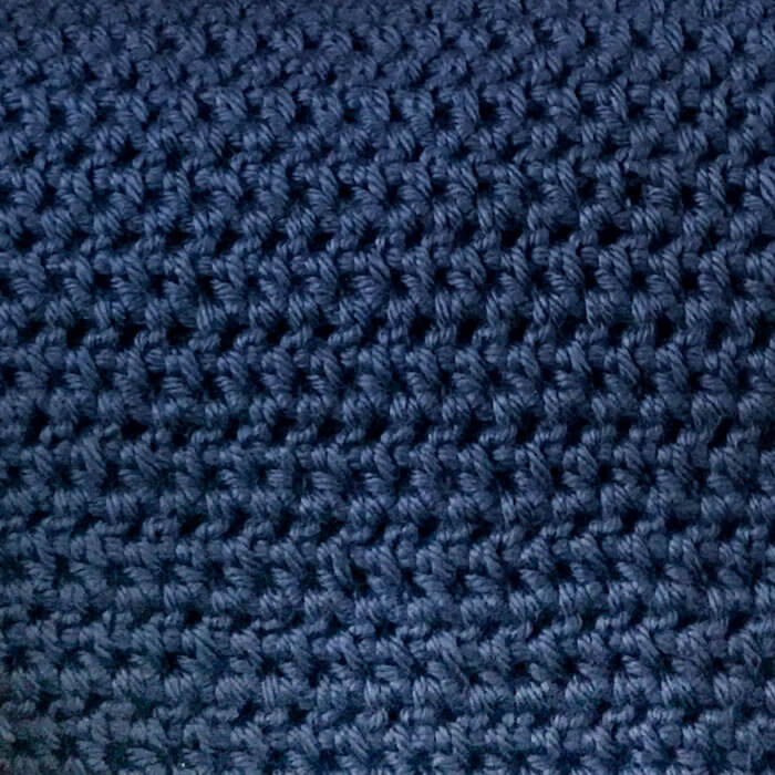 Half double crochet stitches worked between the posts of the stitches in the row below.