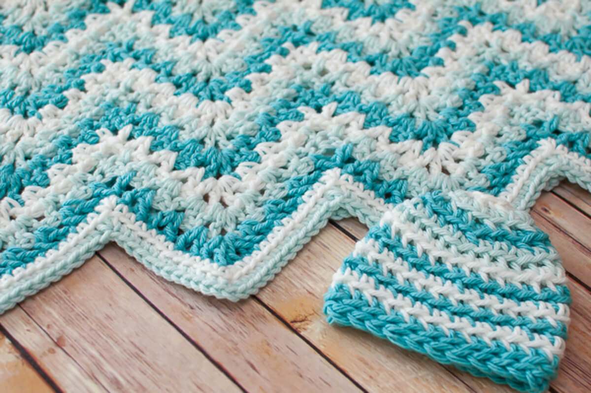 Lacy Ripple Baby Blanket And Hat Crochet Pattern Set Petals To Picots