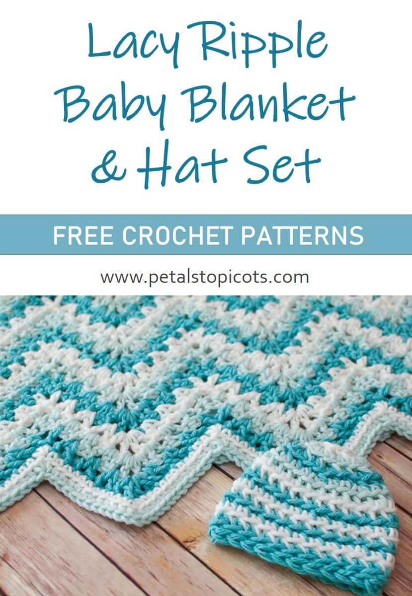 Lacy Ripple Baby Blanket and Hat Crochet Pattern Set