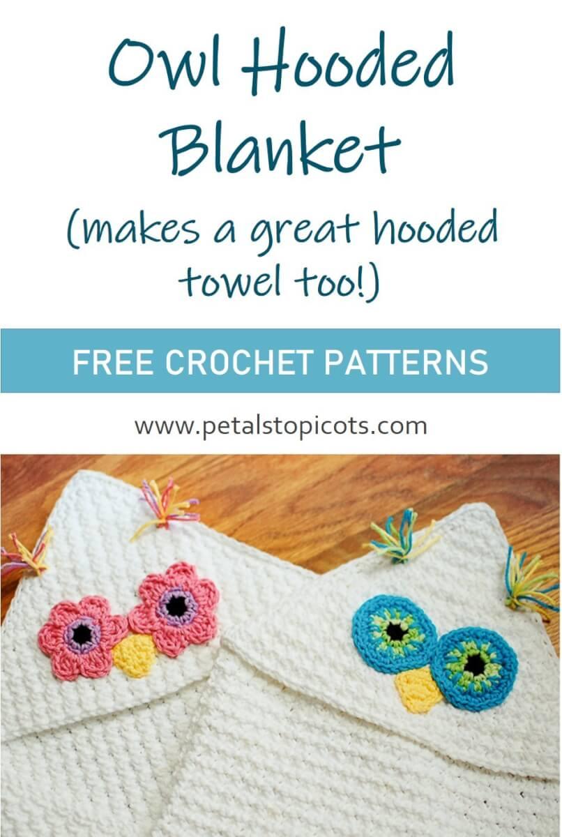 Owl Hooded Blanket Crochet Pattern ... Or Hooded Towel!